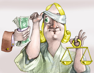 Justice is not always blind political cartoon concept of corruption