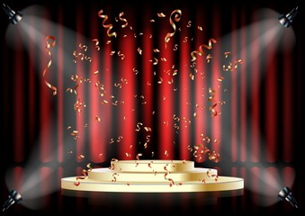 Podium on background of the red curtain. Empty pedestal for award ceremony. Platform illuminated by spotlights.