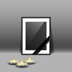 Black mourning frame with black ribbon and burning candles isolated on gray background.