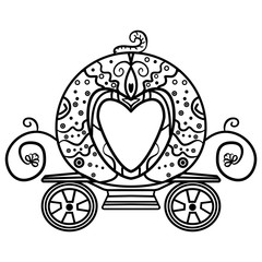 Coloring for girls with a carriage-pumpkin. - Vector