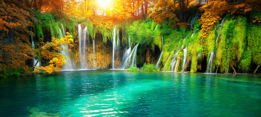 Exotic waterfall and lake landscape of Plitvice Lakes National Park, UNESCO natural world heritage...
