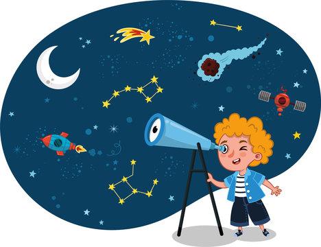 Science loving kid observes space on his telescope. Vector illustration.
