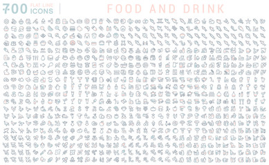 Set Vector Line Icons of Food and Drink Wall mural