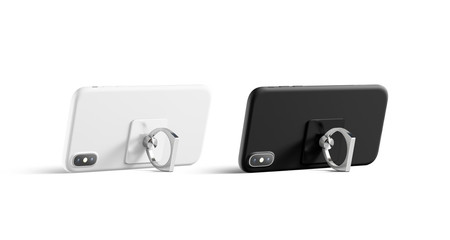 Blank black and white finger grip sticked on mobile phone mock up, isolated, side view, 3d rendering. Clean popscoket mockup with phone stand. Empty silver and dark holder with depth of field effect.