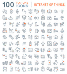 Set Vector Line Icons of Internet of Things