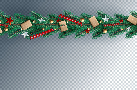 Realistic pine leaves, baubles and holly berries decorated on png background for Merry Christmas celebration