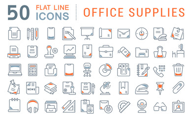 Set Vector Line Icons of Office Supplies Wall mural