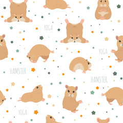 Hamsters yoga poses and exercises. Cute cartoon seamless pattern