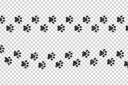 Vector cartoon isolated paw prints for template decoration on the transparent background.