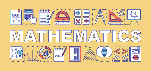 Mathematics word concepts banner. Presentation, website. Isolated lettering typography idea with linear icons. Algebra, geometry, statistics, basic maths. Vector outline illustration