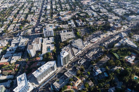 Aerial view of Sunset Blvd area streets and buildings in the West Hollywood area of Los Angeles County, California.