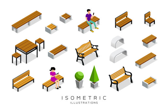 Vector isometric wooden bench collection with man and woman background, illustration