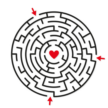 Round labyrinth maze game, find your path to heart
