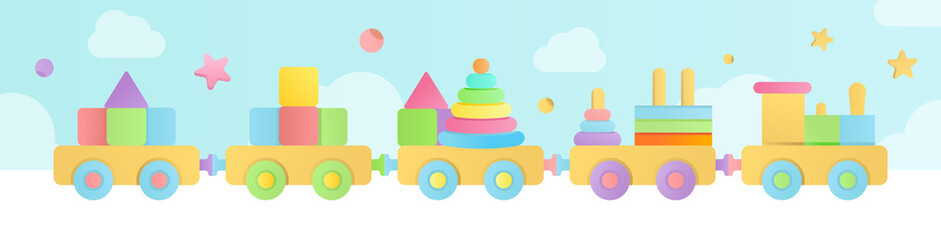 Collection of vector illustrations of eco natural wooden rattles and pacifiers in pastel colors