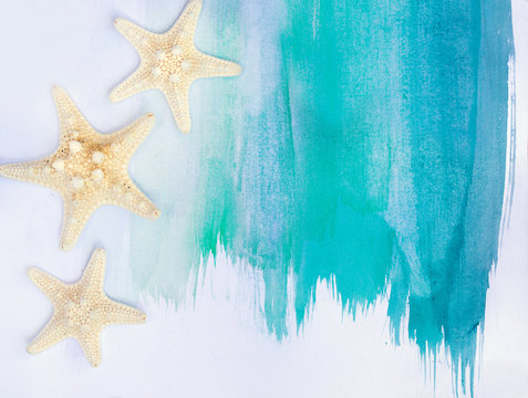vacation and summer concept star fish banner with watercolor turquoise blue summer flat lay background with copy space