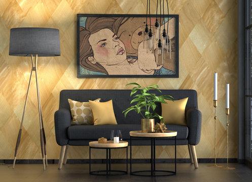 Sofa mit Tisch und Lampe, Sitzgruppe