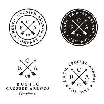 Retro Rustic Hipster Stamp with Crossed Arrow logo design