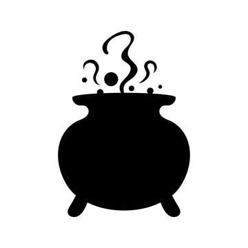 Witches black cauldron with boiling magic potion isolated on white background. Decorative element for Halloween. Vector illustration for any design.
