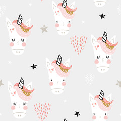 Seamless pattern with cute fairy unicorns heads. Creative childish background. Perfect for kids apparel,fabric, textile, nursery decoration,wrapping paper.Vector Illustration