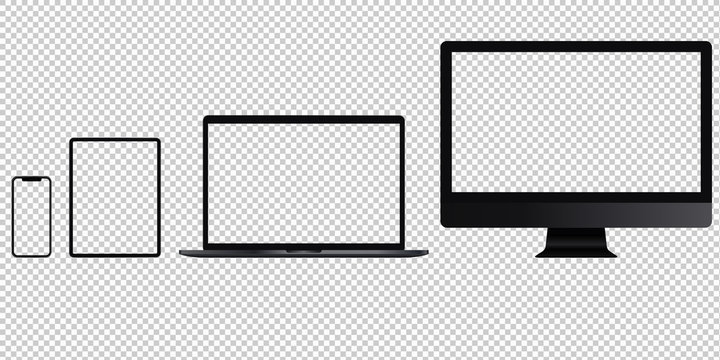 Realistic set of phone, tablet, laptop, pc. Transparent sreens.