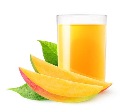 Isolated drink. Glass of mango juice and two slices of fresh fruit isolated on white background with clipping path