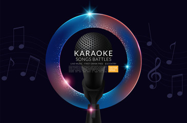 Vector Flyer illustration on a Karaoke Party theme with microphones. Vector illustration