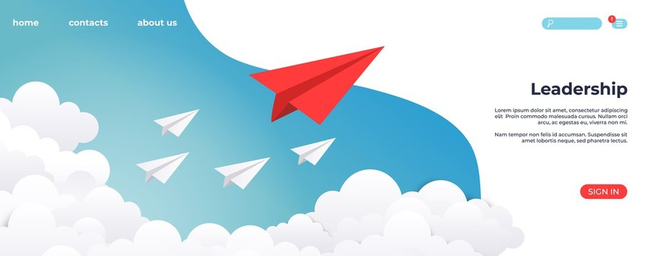Paper leadership landing. Creative concept idea, business success and leader vision minimal success. Vector illustration innovative origami layout