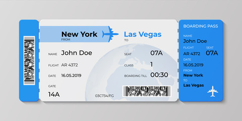 Boarding ticket. Airplane flight pass mockup, plane travel invitation card. Vector realistic concept of ticket illustration for departures airlines business trip