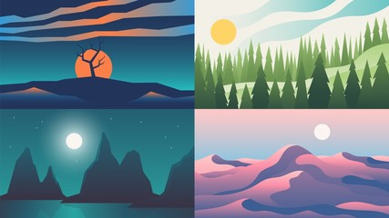 Landscape backgrounds set. Flat night sunset sky with mountains on horizon, cartoon nature scenery. Vector illustrations outdoor adventure abstract set with mountain and desert