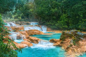 Cascadas de Agua Azul waterfalls. Agua Azul. Yucatan. Mexico Wall mural