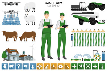 Smart farming set. Modern asian farmer with digital tablet, autonomous harvester, tractor and drone. Elements for design and infographics. Vector illustration EPS 10