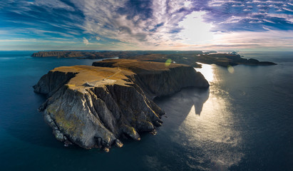 An elevated view of Nordkapp (North Cape) over blue idyllic sea Fototapete