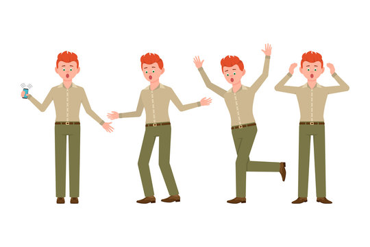 Surprised, shocked, amazed, under the pressure red hair young man in green pants vector illustration. Stressed, worry, nervous, scared boy cartoon character set on white background