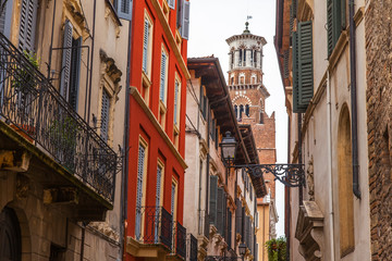 Verona, Italy, on April 24, 2019. the picturesque narrow street with a traditional architectural...