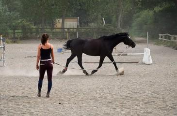 Jeune femme qui longe son cheval.
