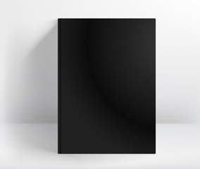 Blank black hard cover book vector mockup. A4 format