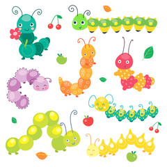 Green funny smiling cute caterpillar collection. Insect character for baby and children. Vector illustration, cartoon style.