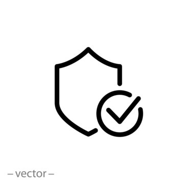protection shield icon, quality guarantee, shield secure logo, safe protect , thin line symbol for web and mobile phone on white background - editable stroke vector illustration eps10