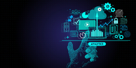Low polygon hand touching Business data analytics process management with KPI financial charts and graph and automated marketing dashboard.