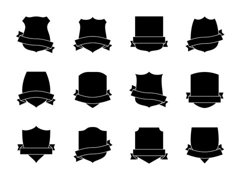 Black shield labels with ribbons. Heraldic royal blazon badges. Medieval insignia shields, pennants. Security signs retro vector set