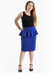 Full length portrait of attractive woman secretary in blue skirt and black shirt standing in high heel, isolated on white background