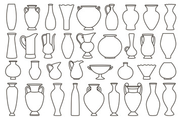 Fototapeta Outline vases and amphora collection, vector linear. Vase pottery, ancient pot greek illustration obraz