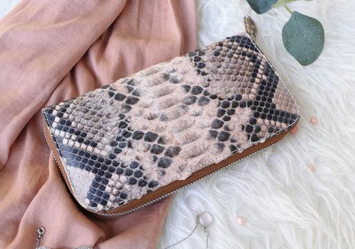 Fashion women python skin belt bag