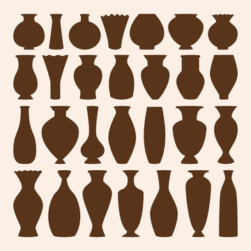 Ancient bowls icons vector collection. Vase and amphora. Ancient pottery for museum. Vector illustration