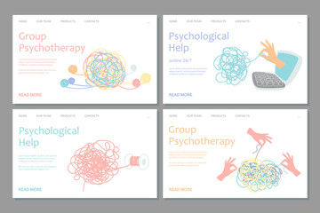 Obraz Psychotherapy landing page template. Vector psychological help web banners design. Illustration of support and consultation psychological, psychotherapy web page - fototapety do salonu