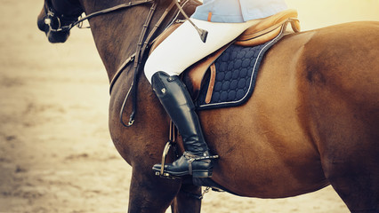 Equestrian sport. The leg of the rider in the stirrup, riding on a red horse.