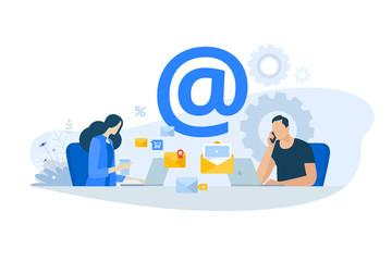 Wall Mural - Flat design concept of email marketing, newsletter, digital advertising. Vector illustration for website banner, marketing material, business presentation, online advertising.