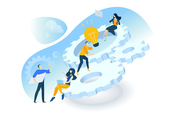 Wall Mural - Flat design concept of 10.project management, teamwork, business mechanism, research and development. Vector illustration for web banner, marketing material, business presentation, online advertising