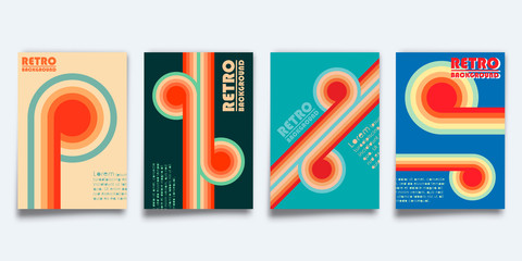 Set of retro design cover template for flyer, vintage poster, brochure, typography or other printing products