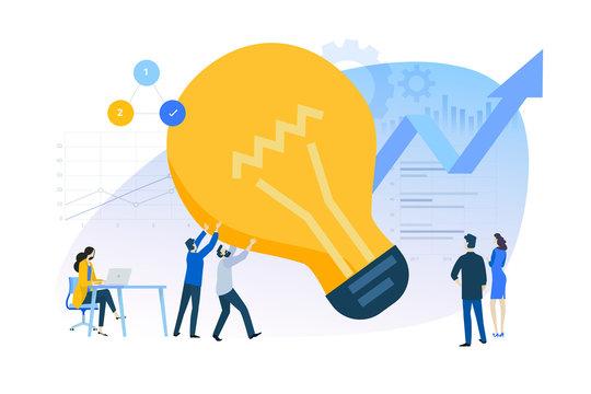 Flat design concept of innovative solutions, improvements. Vector illustration for website banner, marketing material, business presentation, online advertising.